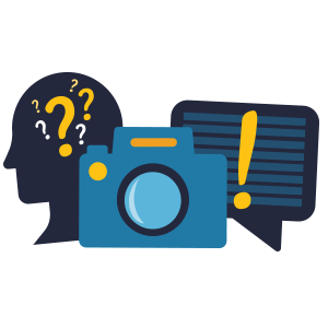 Icon displaying a head with question marks in it, a camera, and a chat box with an explanation point in it used to represent the amount of options available on the Eventzee scavenger hunt app