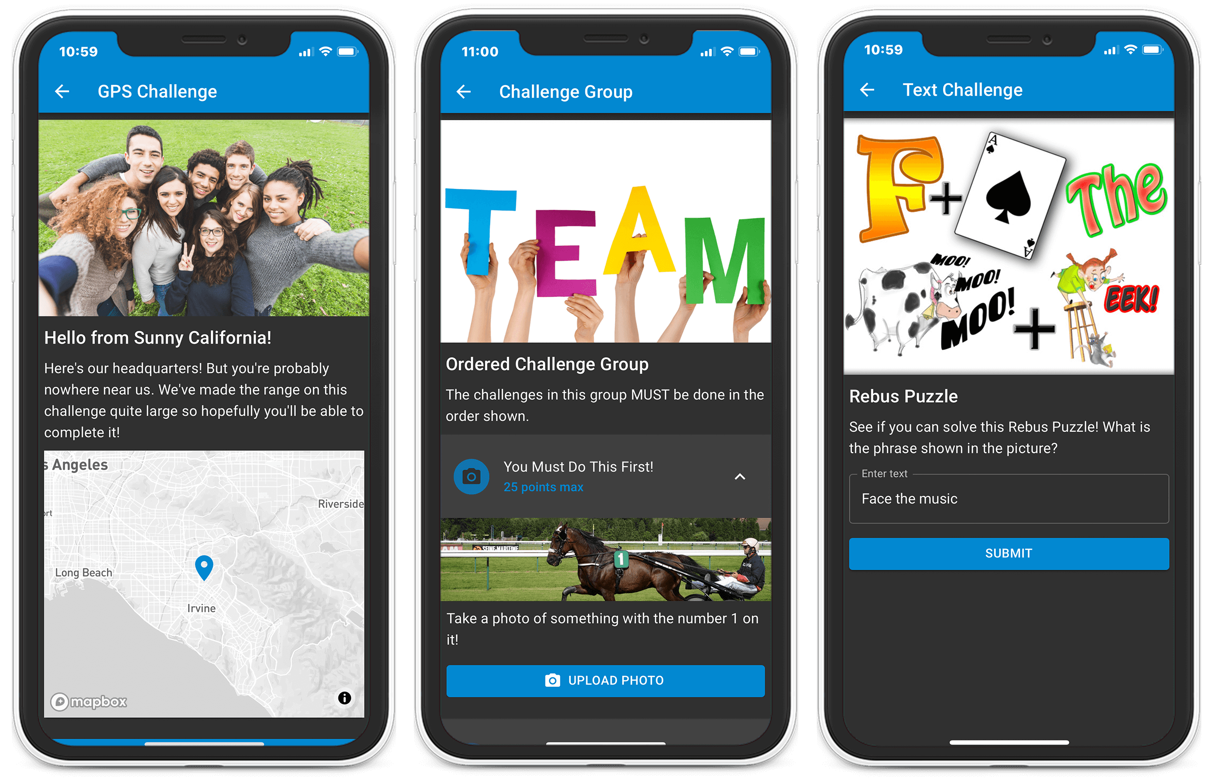 Eventzee Scavenger hunt app is the most customizable on the market. There are 7 challenge types offered and each event is branded to the company's branding.