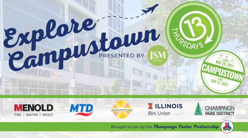 banner featuring champaign, illinois, advertising their event that utilizes eventzee's virtual scavenger hunt app in their downtowns to engage tourists