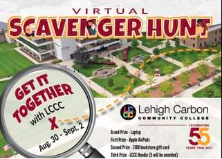 advertisement for lehigh carbon community college scavenger hunt using eventzee scavenger hunt app, featuring a picture of their campus and a magnifying glass