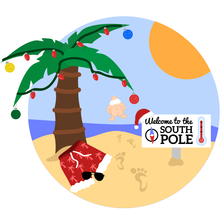 """Earn the """"Skinny Dipping Santa"""" Badge just for joining!"""